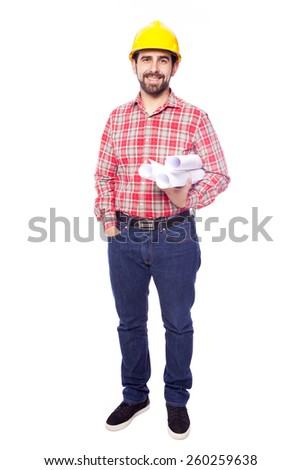 Full body portrait of young architect holding blueprints on white background - stock photo