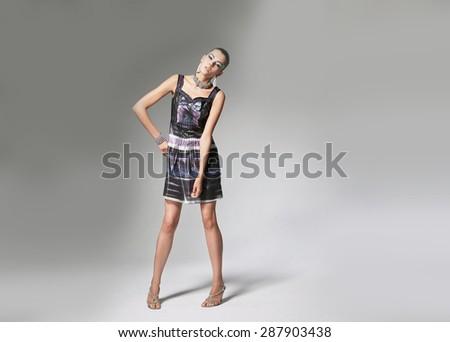 Full body portrait of young beautiful girl posing , Fashion photo - stock photo