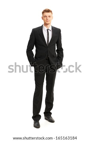 Full body portrait of young business man isolated on white - stock photo