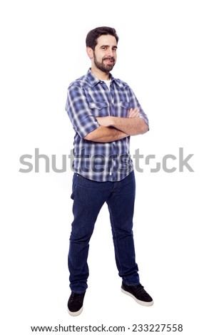 Full body portrait of young casual man smiling, isolated on white background - stock photo