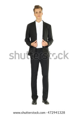 Full body portrait of young cheerful business man