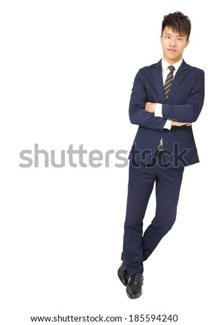 Full body portrait of young happy smiling business man - stock photo