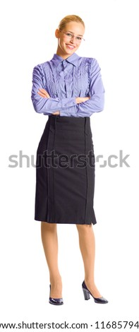 Full body portrait of young happy smiling business woman, isolated over white background - stock photo