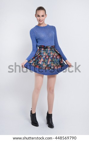 Full body Portrait of young stylish woman  - stock photo