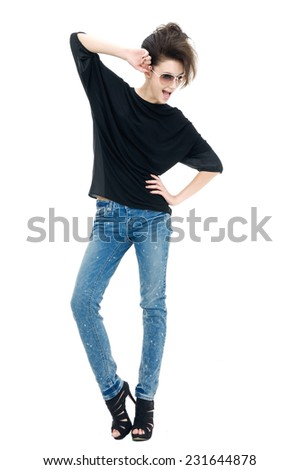 Full body Pretty model in jeans against white background  - stock photo