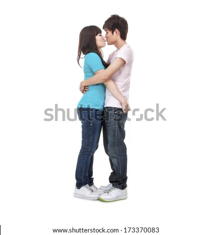 Full body Romantic young couple in love