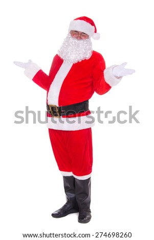 Full Body Santa Claus portrait isolated on white background - stock photo