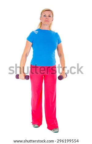 Full body Senior old woman in sport outfit in gym working out with dumbbells in hands, isolated on white background, Positive human emotions - stock photo