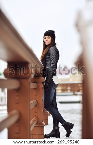 Full body sexy brunette woman outdoor portrait in winter  - stock photo