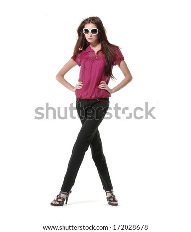 Full body shot of a beautiful vogue style girl posing