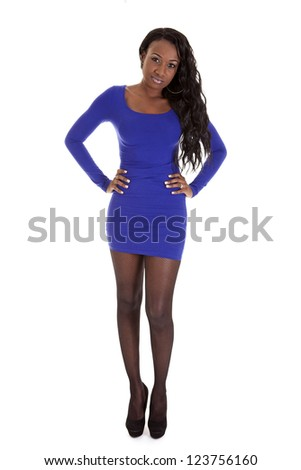 Full body shot of a young Caribbean woman on white background