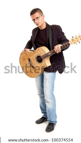 full body shot  of a young guitar player with his guitar, isolated on white - stock photo