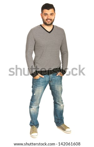 Full body shot of casual man in striped shirt and jeans isolated on white background - stock photo