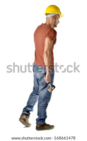 Full body shot of construction worker with hard hat and hammer, isolated on white - stock photo