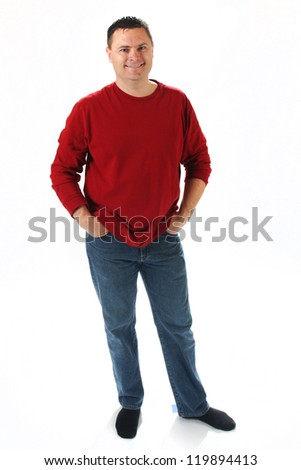 Full body shot of man standing on white background with red shirt