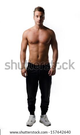 full body nude man standing