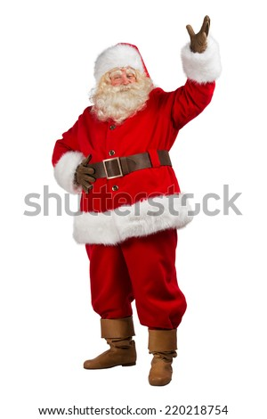 Full Body Shot of Santa Claus with his hands open isolated on white background - stock photo
