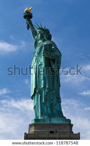 Full body shot of the Statue of Liberty in New York city, USA. - stock photo