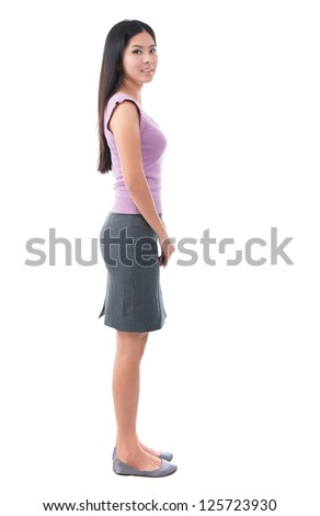 Full body side view Asian young woman standing on white background