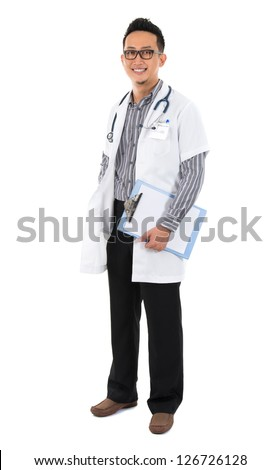 Full body southeast Asian medical doctor. Male medical doctor holding a clipboard standing on white background with confident smile. - stock photo