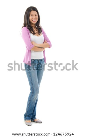 Full body Southeast Asian woman smiling over white background - stock photo