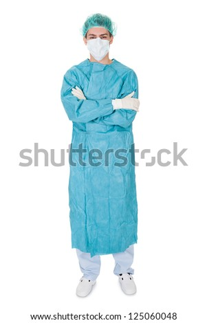 Full body studio portrait of a young male surgeon - stock photo