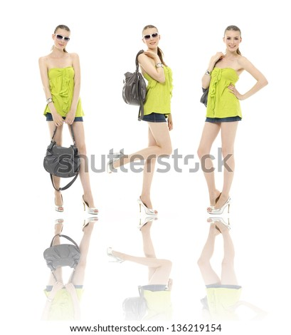 Full body three young girl in summer dress in sunglasses and with bag