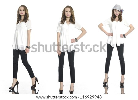 Full body three young woman in casual clothes with hat posing - stock photo