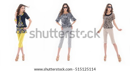 Full body three young woman wearing colorful clothes, sunglasses, posing in studio