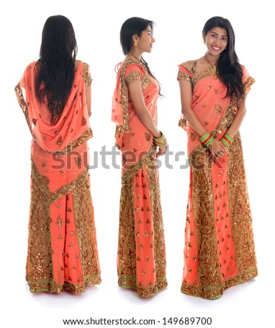 Full body traditional Indian woman in sari costume different angle front, side and rear view standing isolated on white background. - stock photo