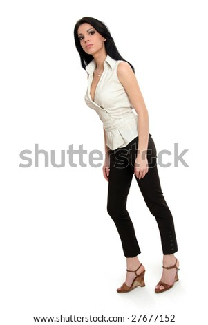 Full body view o attractive woman in casual wear, standing. Isolated on white.