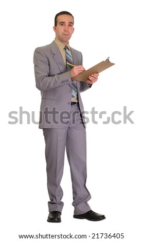Full body view of a businessman holding a clipboard and a pencil - stock photo