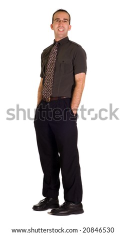 Full body view of a modern employee, isolated against a white background