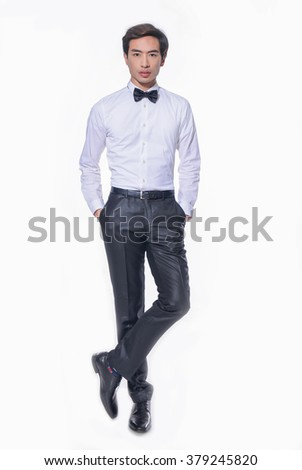 Full body young business man portrait isolated on white background - stock photo