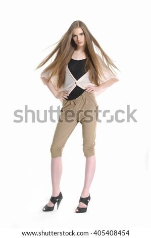 Full body young girl posing in studio - stock photo
