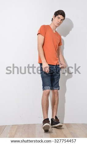 Full body young Man in Casual Clothes posing
