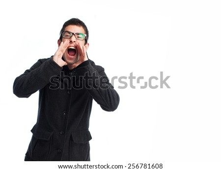 full body young man shouting over a white background - stock photo
