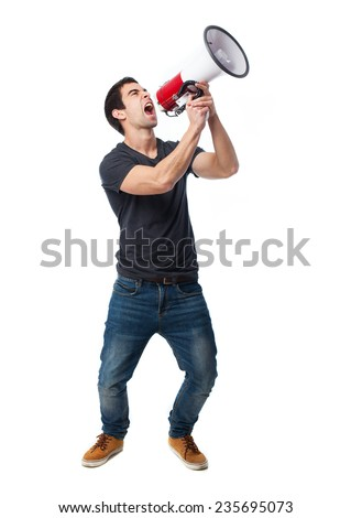 full body young man using a megaphone