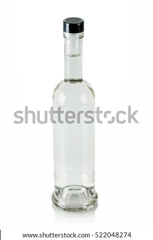 full bottle of vodka on a white background