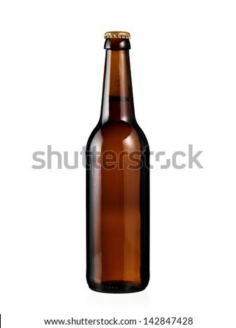 Full brown beer bottle - stock photo