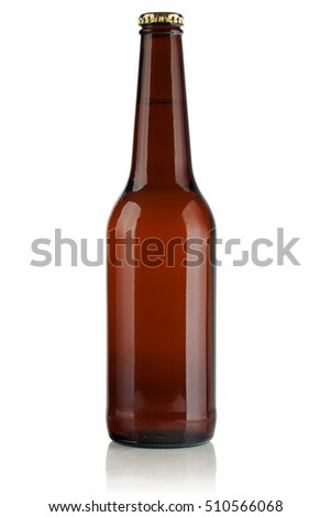 Full brown bottle of beer on white background