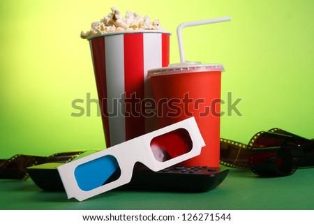 Full bucket of popcorn - stock photo