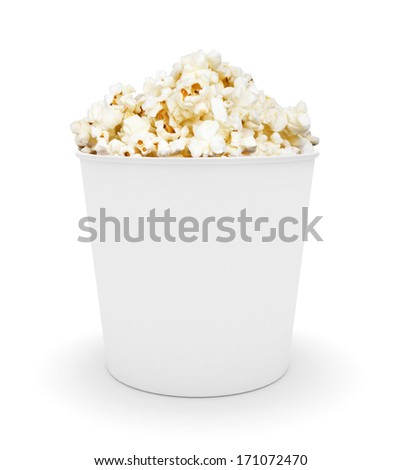 Full bucket of popcorn. Isolated on white - stock photo