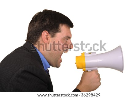 full businessman shouts in  megaphone isolated on  white background