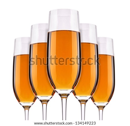 Full  champagne glass with white wine set
