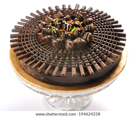 Full Chocolate Cake made with fresh cream & dark chocolate - stock photo