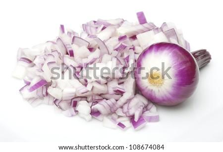 Full & Choppen Onion - stock photo