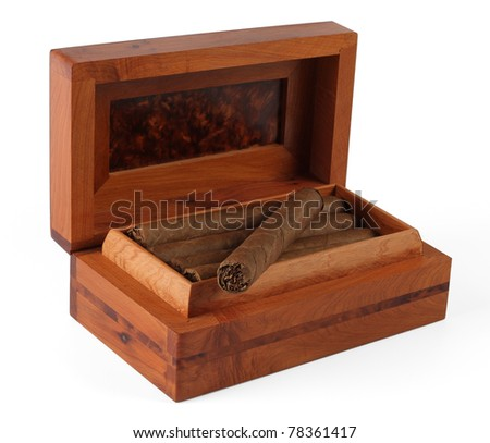 Full cigar box from wood isolated over white
