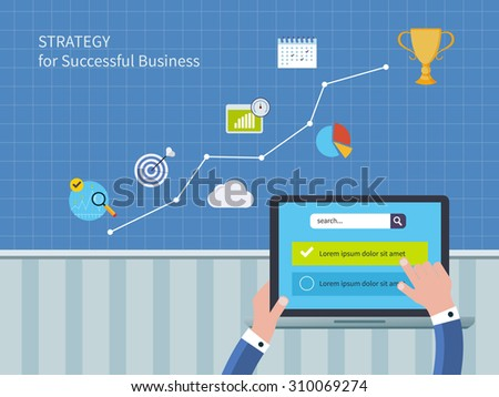Full circle of concept consulting services including market research and data analysis. Illustration icons set of strategy for successful business and strategic planning - stock photo