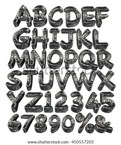 Full Clay alphabets in 3d rendered on white background.